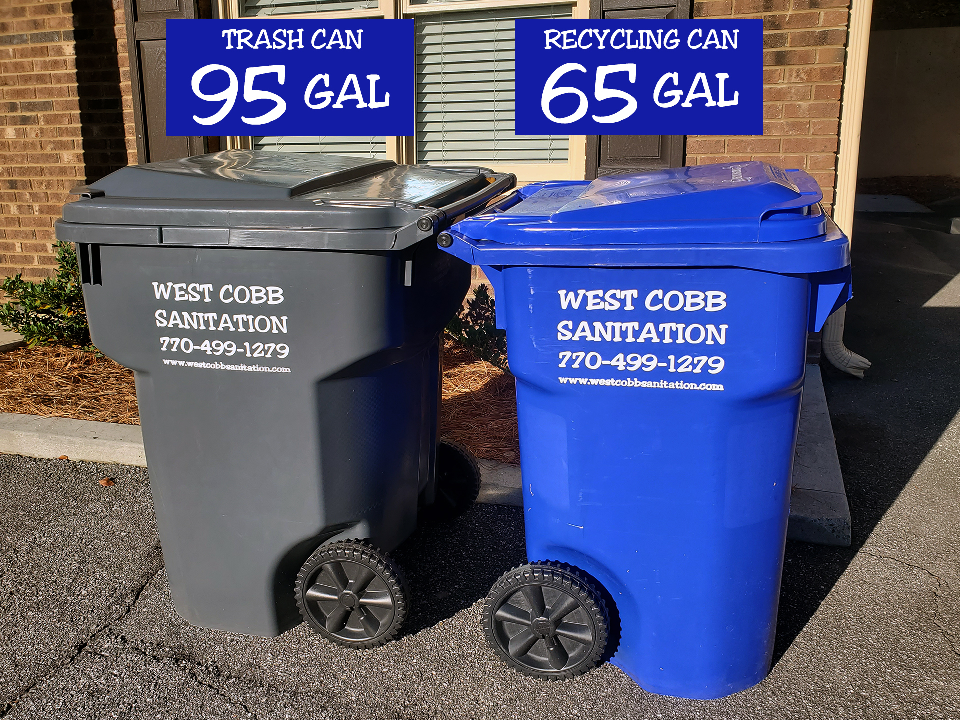 West Cobb Sanitation Trash & Recycle Bin Size photo